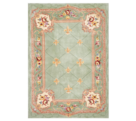 Royal Palace 5'x7' Fleur de Lis Wool Rug with Scroll Broder