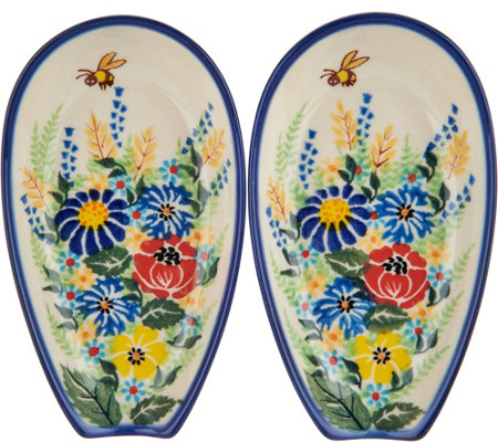 Lidia's Polish Pottery Hand Painted Set of 2 Spoon Rests