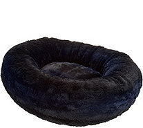 "Dennis Basso Medium 27"" Faux Fur Oval Bolster Pet Bed - H213352"