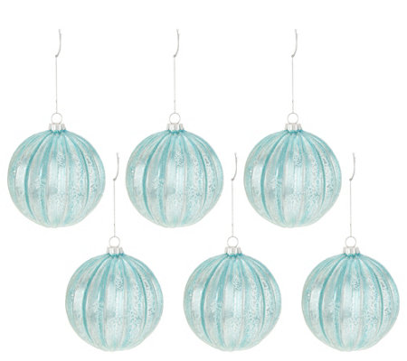 Inspire Me! Home Decor Set of 6 Frost Blue Ornaments