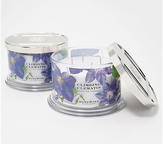 HomeWorx by Harry Slatkin S/2 Climbing Clematis Deluxe 4-Wick Candles