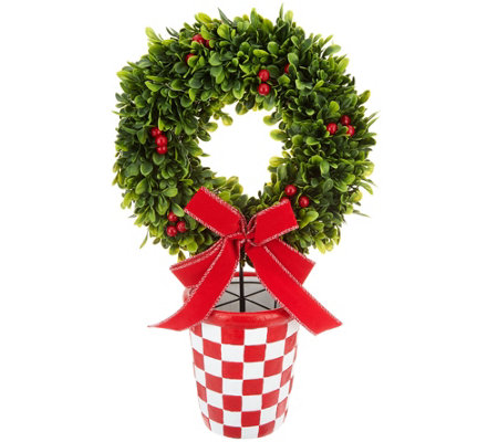 As Is Barbara King Holiday Faux Boxwood Wreath In Plaid Pot