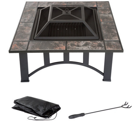 "Pure Garden 33"" Square Tile Fire Pit with Cover"