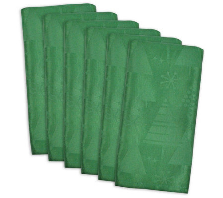 Design Imports Christmas Trees Jacquard Napkinset Of 6