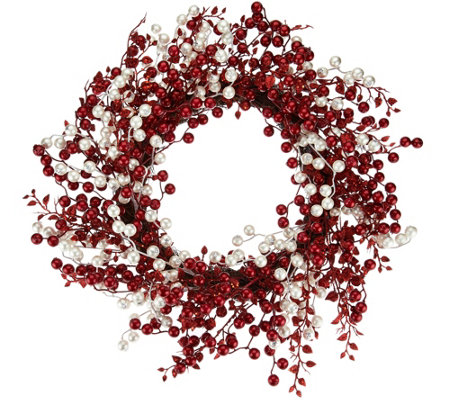 "22"" Pearl and Red Berry Wreath by Valerie"