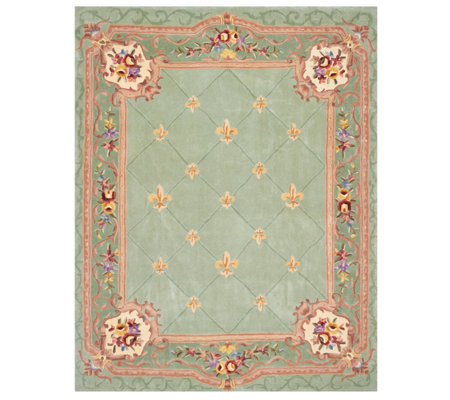 Royal Palace 7'x9' Fleur de Lis Wool Rug with Scroll Border