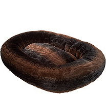 "Dennis Basso Large 35"" Faux Fur Oval Bolster Pet Bed - H213353"