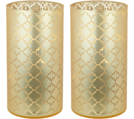 "S/2 Illuminated 7.5"" Etched Quatrefoil Hurricanes by Valerie"