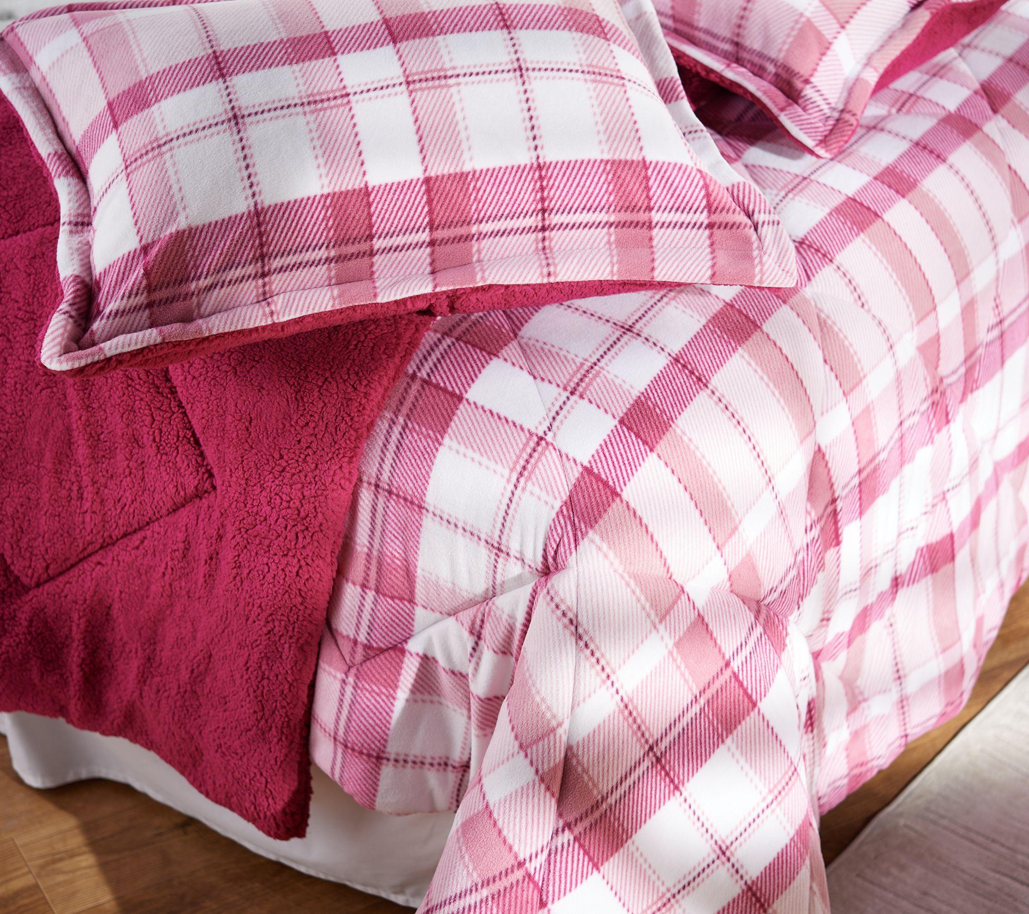 Berkshire Printed Plaid Reversible Cozy Comforter Set King Qvc Com