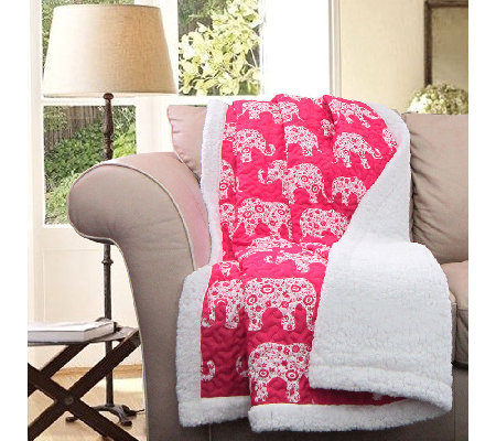 Elephant Parade Pink Sherpa Throw by Lush Decor