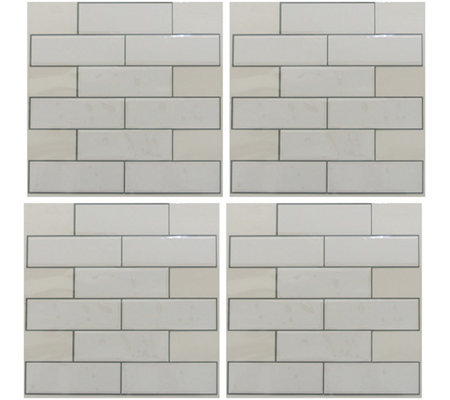 RoomMates White Subway StickTILES - 4 Pack