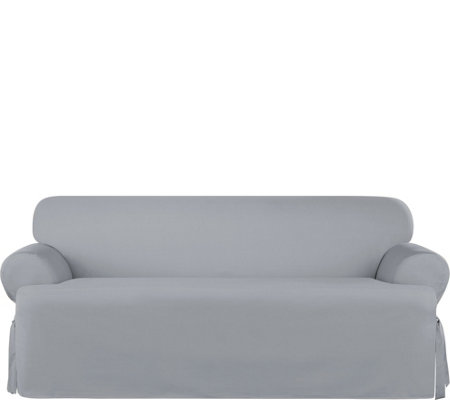 Sure Fit Heavyweight Cotton Duck T-Cushion SofaSlip Cover