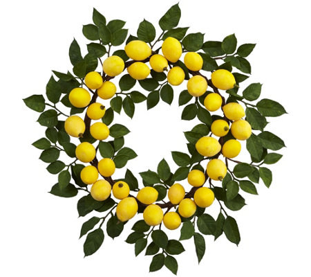 "24"" Lemon Wreath by Nearly Natural"
