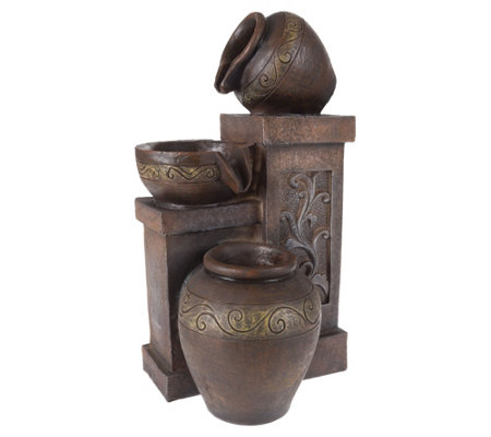 Brown Three Tier Rustic Jugs Table Fountain byPure Garden