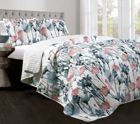 Zuri Flora 3-pc Full/Queen Blue/Coral Quilt Setby Lush Decor
