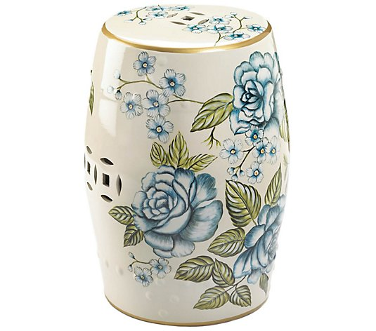Zingz & Thingz Antiqued Floral Garden Stool
