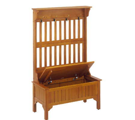 Home Styles Solid Wood Oak Storage Bench with Coat Rack