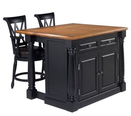 Home Syles Monarch Kitchen Island & Two Stools
