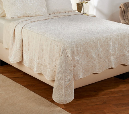 Dennis Basso Posh Velvet King Quilted Coverlet and Sham Set
