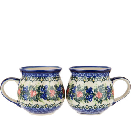 Lidia's Polish Pottery Set of 2 Bubble Mugs