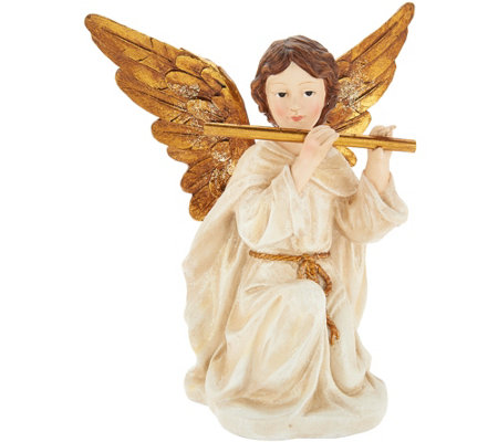 Glistening Angel Holding Instrument by Valerie