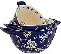 Cook's Essentials Santa Rosa S/3 Nesting Ceramic Bowls with Lids - H213154