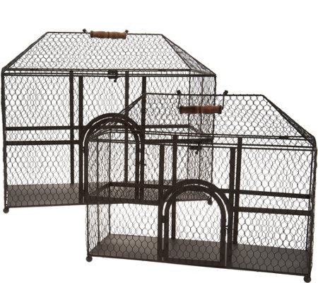 """As Is"" Set of 2 Wire Decorative Chicken Coops by Valerie"