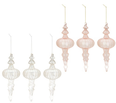 Inspire Me Home Decor S 6 Blush Silver Finial Ornaments