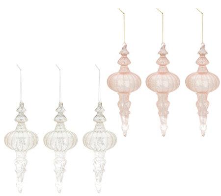 Inspire Me Home Decor S 6 Blush Silver Finial Ornaments
