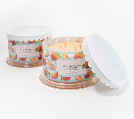 HomeWorx by Harry Slatkin S/2 Farmstand Peach Deluxe 4-Wick Candles