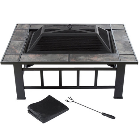 Pure Garden 37 Rectangular Tile Fire Pit W Cover