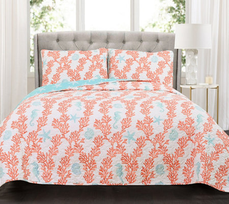 Dina Coral 3-Piece King Blue/Coral Quilt Set byLush Decor