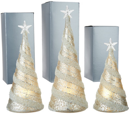 Kringle Express S/3 Illuminated Mercury Glass Trees with Gift Boxes