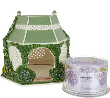 HomeWorx by Harry Slatkin Ceramic Gazebo w/ 3Wick Candle