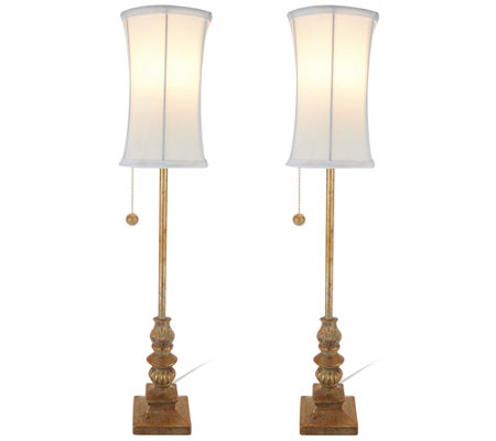 "Set of 2 Antiqued Finish 28.5"" Buffet Lamps by Valerie"