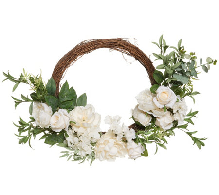 "Casa Zeta-Jones 24"" Illuminated Spring Floral Wreath"