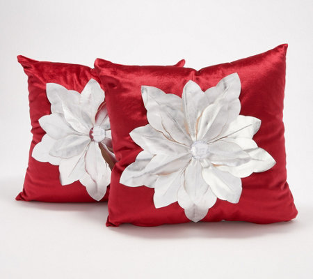 "Inspire Me! Home Decor 16""x16"" Silver Poinsettia Pillows 2-Pack"