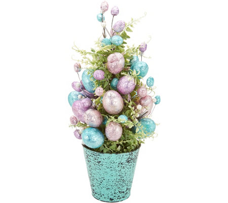 "20"" Metallic Wrapped Foil Egg Cone Tree by Valerie"