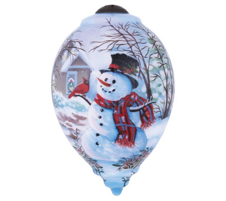 "5-1/2"" Snowman and Cardinal Ornament by Ne'Qwa"