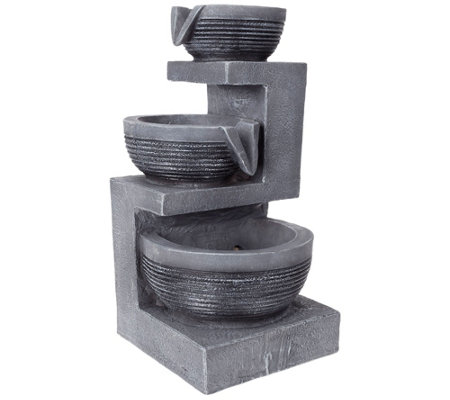 Gray Three Tier Cascading Basin Table Fountainby Pure Garden
