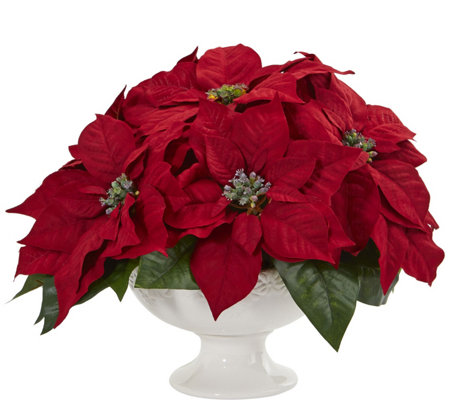 Poinsettia Artificial Arrangement in Urn by Nearly Natural