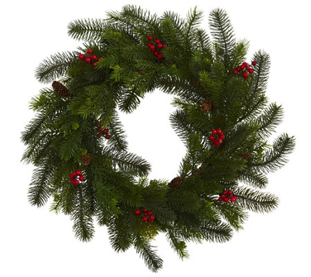 "24"" Pine and Berry Wreath by Nearly Natural"