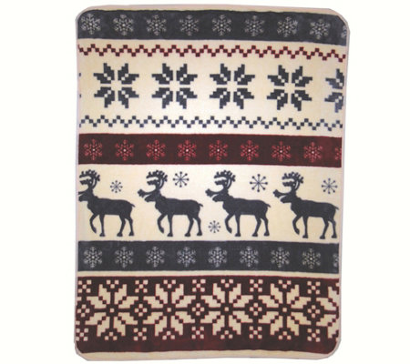"Shavel Hi Pile 60"" x 80"" Reindeer Stripe LuxuryThrow"
