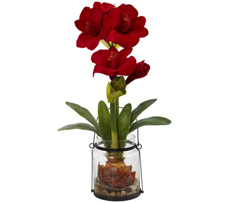 "24"" Amaryllis with Vase by Nearly Natural"