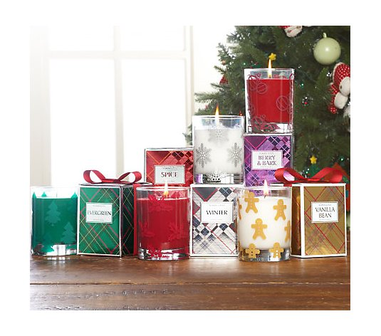 Slatkin & Co. Set of 5 Holiday Scented 9.5 oz. Candles with Gift Boxes