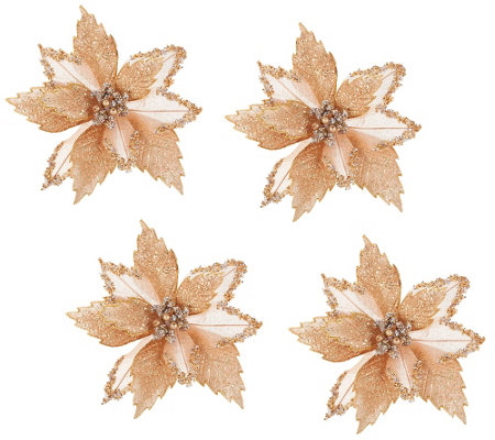 """As Is"" Set of 4 Glitter Poinsettia Clips by Valerie"