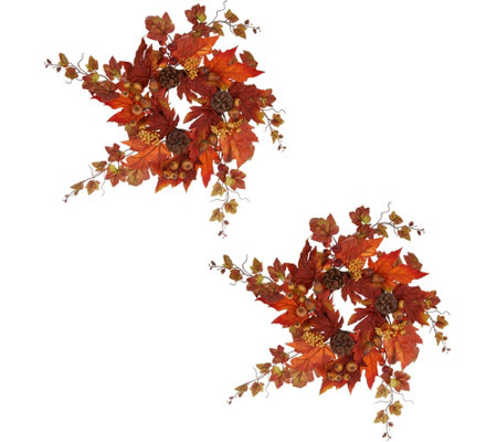 Set of 2 Berry and Maple Leaf Rings by Valerie