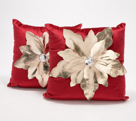 "Inspire Me! Home Decor 16""x16"" Gold Poinsettia Pillow 2-Pack"