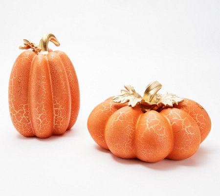 Set of 2 Crackle Finish Pumpkins with Leaves by Valerie