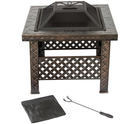 "Pure Garden 26"" Square Woven Metal Fire Pit with Cover"